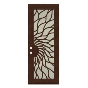 Unique Home Designs Sunfire 36 in. x 96 in. Copperclad Right Hand Surface Mount Aluminum Security Door with Beige Perforated Aluminum Screen 1S2001EM1CCP2A