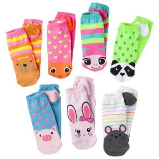 Xhilaration Girls 7pk Low Cut Animal Face Socks  Assorted 9 2.5