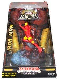 Hasbro Year 2007 Marvel Legends Titanium Series Die Cast Metal 5 Inch Tall Posable Action Figure   IRON MAN with Display Base Toys & Games