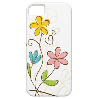 Cute Pink Blue Orange Floral iPhone 5 Case