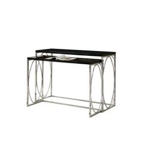 Glossy Black with Chrome Metal Console Table Set (2 Pieces) I 3024