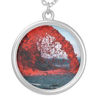 Arching Fountain of Lava Pahoehoe Volcano Personalized Necklace