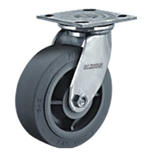 "Albion 05 Series 8"" Diameter X tra Soft Rubber Flat Tread Wheel Light Duty Stainless Steel Plate Swivel Caster, Delrin Bearing, 4 1/2"" Length X 4"" Width Plate, 675lbs Capacity (Pack of 2)"