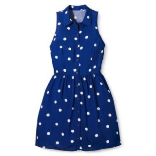Merona Womens Woven Sleeveless Shirt Dress   Blue Polka Dot   16