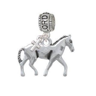 Silver Walking Horse Lord Guide Me Charm Bead with Cross Jewelry