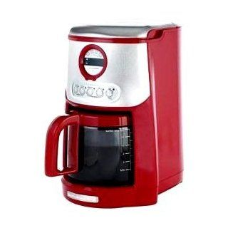 KitchenAid Empire Red and Stainless Steel Digital clock/timer JavaStudio 14 Cup Glass Carafe Programmable Coffeemaker with Gold Tone Coffee filter and Water Filter included.