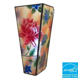 Its Exciting Lighting Wall Mount Hand Painted Glass Flowers Conical Glass Battery Operated 5 LED Wall Sconce AMBP104