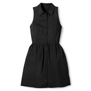 Merona Womens Woven Sleeveless Shirt Dress   Ebony   16