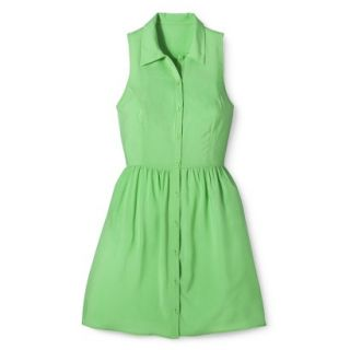 Merona Womens Woven Sleeveless Shirt Dress   Pristine Green   6