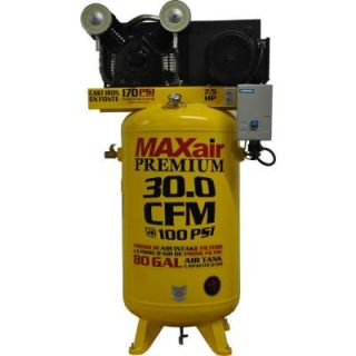 Maxair Premium Industrial 80 Gal. 7.5 HP Electric 460 Volt Single Stage 3 Phase Vertical Air Compressor C7380V1 CS4 MAP
