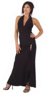 Stylish Sophisticated Fashionable Classic Evening Dress with Chained Hip Accent from Hot Fash Dresses   SPHINX Black