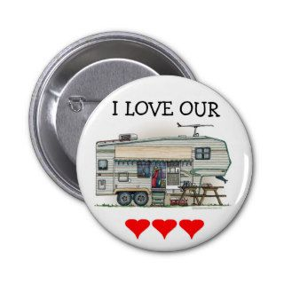 Cute RV Vintage Fifth Wheel Camper Travel Trailer Pinback Buttons