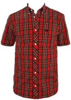 Fred Perry Tartan Plaid Mens Button Up Short Sleeve Shirt (Style M4354 and M4352) (X Small, Red) at  Men�s Clothing store