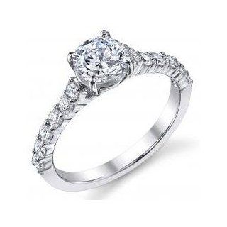 Round Shared prong Set Diamond Engagement Ring .55ct(cz ctr) Jewelry