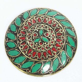 Indian Green Red Mosaic Tiles Gold Tone Metal Pendant Women Fashion Antique Jewelry Gift Pendant Necklaces Jewelry