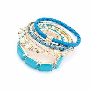 Mix and Match Blue Bead Acrylic Pearl Braided Leather Set of 6 Strand Coil Bracelet Jewelry