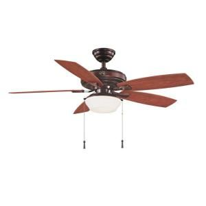 Hampton Bay Gazebo II 52 in. Indoor/Outdoor Weathered Bronze Ceiling Fan YG188 WB