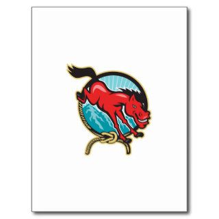 Red Horse Jump Lasso Mountain Postcards