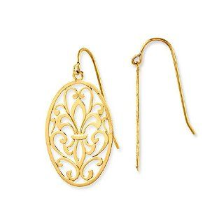 "14k Gold Ornament Oval Leaf Shaped Dangle Drop Earrings, 32mm or 1.25"" Long Drop, Medium (M) Size  $109 SALE   NO Sales TAX exc. MA Jewelry"