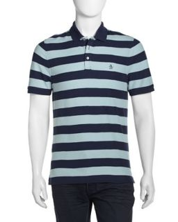 Pique Knit Striped Polo Shirt, Dress Blues