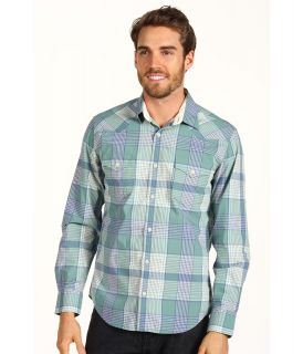 Lucky Brand Merin Plaid 2 Pocket Shirt Mens Long Sleeve Button Up (Blue)