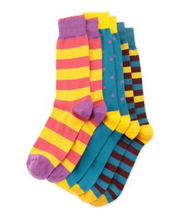 Set of Three Sock Pairs, Blue/Purple/Orange, Mens