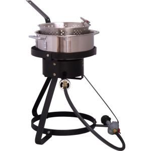King Kooker 54,000 BTU Bolt Together Propane Gas Outdoor Cooker with Low Profile 7 qt. Stainless Steel Fry Pan 1645
