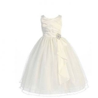 Chic Baby Ivory Layered Brooch Flower Girl Dress Little Girls 4 14 Chic Baby Clothing