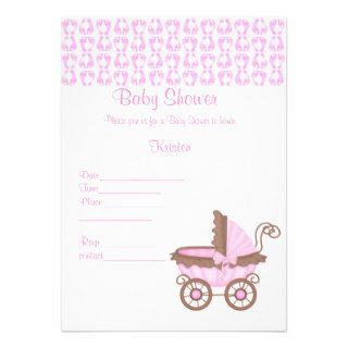 PINK FOOTPRINTS WITH PRAM BABY SHOWER INVITATION