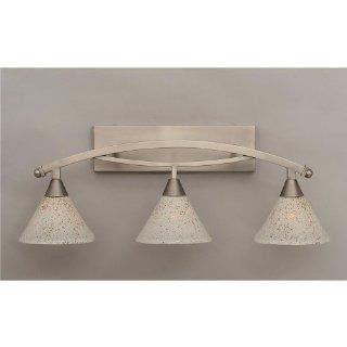 "Bow 3 Light Bath Vanity Light Finish Brushed Nickel, Shade 7"" Gold Ice Glass   Vanity Lighting Fixtures"