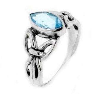 Sterling Silver Celtic Knot Blue Topaz Ring(Sizes 4, 5, 6, 7, 8, 9, 10, 11, 12, 13, 14, 15) Jewelry