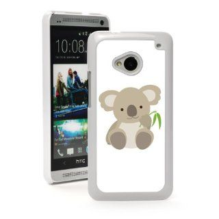 HTC One M7 White Hard Back Case Cover MW156 Color Cute Baby Koala Bear With Bamboo Cartoon Cell Phones & Accessories