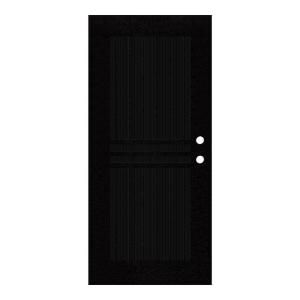 Unique Home Designs Plain Bar 36 in. x 80 in. Black Left Hand Surface Mount Aluminum Security Door with Charcoal Insect Screen 1S1001EL2BKISA