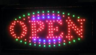 Animated Oval Shape LED Neon Light Open Sign Super Size b30 161
