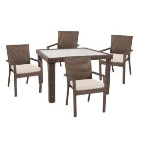 Hampton Bay Beverly 5 Piece Patio Dining Set with Beige Cushions 65 23355B