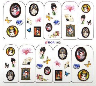 Egoodforyou BLE Water Slide Water Transfer Nail Tattoo Nail Decal Sticker Oil Portray (Chinese Ancient Beauty, Beijing Opera Beauty and China Porcelains) with one packaged nail art flower sticker bonus  Beauty