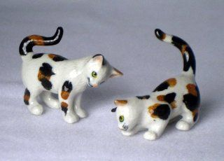 CAT CALICO Pair Playing 1 Stalking 1 Crouching New MINIATURE Figurine Porcelain KLIMA L172B   Collectible Figurines