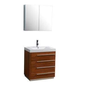 Virtu USA Bailey 29 1/10 in. Single Basin Vanity in Plum with Poly Marble Vanity Top in White and Medicine Cabinet Mirror JS 50530 PL