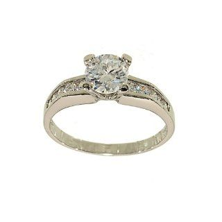 Silvertone Classic Engagement Ring Style Solitaire Fashion Ring with Channel Set Sides in Clear Cubic Zirconia Jewelry