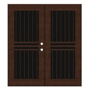 Unique Home Designs Plain Bar 72 in. x 80 in. Copperclad Left Hand Surface Mount Aluminum Security Door with Charcoal Insect Screen 1S1001KL1CCISA