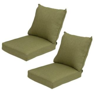 Hampton Bay Green Texture Pillow Back Outdoor Deep Seating Cushion (2 Pack) 7297 02003000