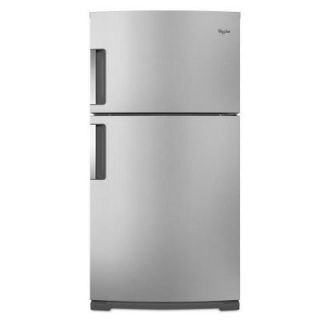 Whirlpool 21.1 cu. ft. Top Freezer Refrigerator in Monochromatic Stainless Steel WRT771RWYM