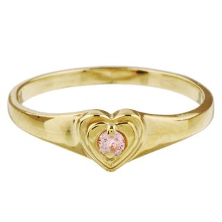 10k Gold Pink Cubic Zirconia Heart Baby Ring Children's Rings