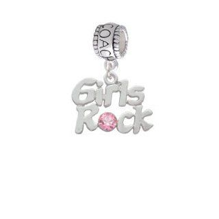 Silver Girls Rock with Light Pink Crystal Coach Charm Bead Delight & Co. Jewelry