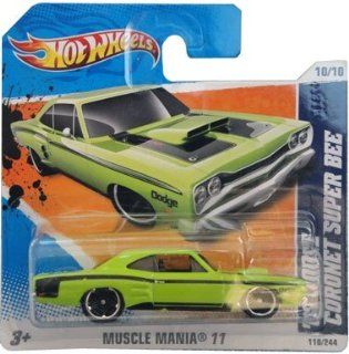 '69 DODGE CORONET SUPER BEE (lime green) * 2011 Hot Wheels #110/244 Muscle Mania 10/10 164 scale car on SHORT CARD