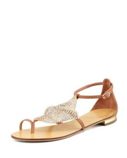 Crystal Mesh Toe Ring Flat Sandal   Lola Cruz