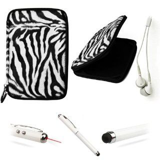 BLACK WHITE Zebra Faux Animal Fur Hard Cube Carrying Cover Portfolio Case For HTC Flyer 7 inch Android Tablet + Includes a WHITE Crystal Clear High Quality HD Noise Filter Ear buds ( 3.5mm Jack ) + Includes a Professor Pen 3 in 1 Red Laser Pointer / LED Wh