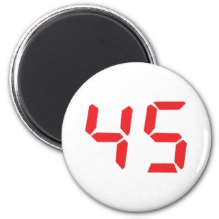 45 fourty five red alarm clock digital number fridge magnet