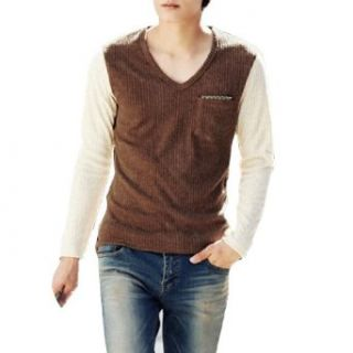 Korea New Fashion V Neck, Long Sleeve Ribbed Knit Details Mens Shirt Camel White S at  Men�s Clothing store Fashion T Shirts