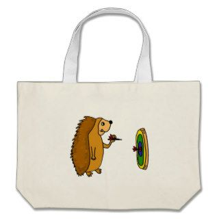VV  Funny Hedgehog Throwing Darts Cartoon Canvas Bags